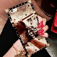 MCM New fashion rabbit  more letter print couple protective cover phone case Golden