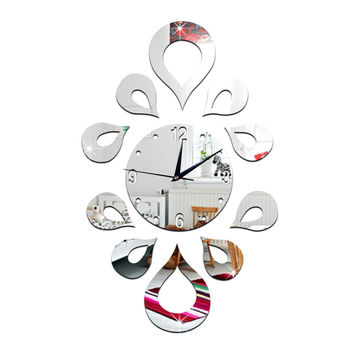 Creative Flower Mirror Quartz Wall Clock   silver