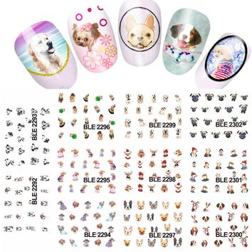 11designs Lovely Dog Animals Pattern Water Nail Tattoo Transfer Nail Decal Sticker DIY Manicure Beauty tools #LABLE2292-2302