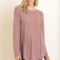 Abby Waffle Knit Lace Top