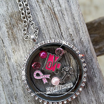 Breast Cancer Awareness Floating Keepsake Glass Living Locket