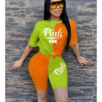 Victoria's Secret TrendingT Shirt Shorts Two Piece Suit PINK Print Green+Orange