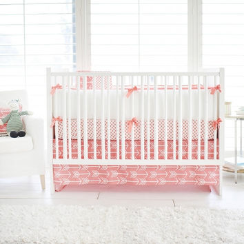 Wanderlust in Coral Baby Bedding | White and Coral Crib Bedding