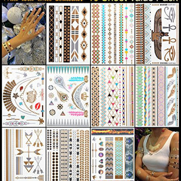 Metallic Tattoos - Pack of 10 Sheets with 129+ Temporary Flash Tattoos for Woman & Girls in Gold, Silver & Turquoise With Tribal, Flower & Butterfly Jewellery Designs (Wild & Free Collection)