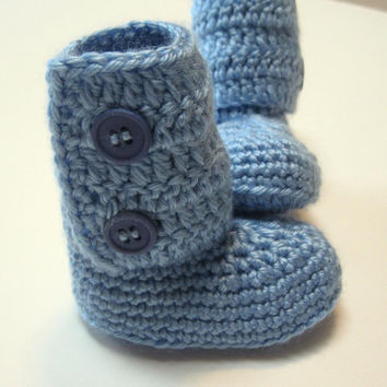 Newborn baby boy ankle boots.  Ready to ship.  Crochet baby booties.  Blue.  Baby boy.