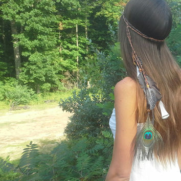 Feather Headband, Boho headband, Bohemian headband, Native, American, style, braided , hairband, Pocahontas headband, hippie headband