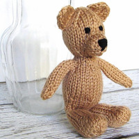 "Little Hand Knit Teddy Bear, Ready To Ship, Newborn Photo Prop, Stuffed Animal Baby Shower Gift, Small Stuffed Bear, Nursery Toy 8"" Tall"