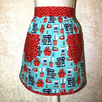 "Vintage Kitchen Half Apron • Women's Retro Apron • 27"" Waist • 2 Pockets • Mid Century Modern • Glamping • Gift For Her • FREE SHIPPING"