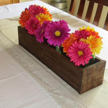 Stained Wood Planter Box • Mason Jar Centerpiece, Long wood box, Candle Holder, Wedding Centerpiece • 18 inches long