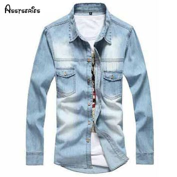 2018 New Vintage Men's Fashion Denim Shirt Long Sleeve Light Blue Jeans Shirt Top quality Hot Selling  Size M-3XL 38z
