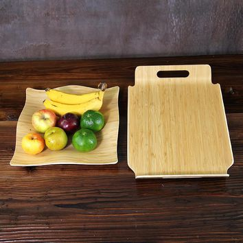 Creative Bamboo Fruit Tea Tray Natural Wood Serving Plates Multi-Use Eco Storage Trays for Fruit/Food/Tea Eco Friendly