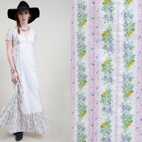 vintage 70s dress vintage 1970s dress vintage boho bohemian floral and white lace prairie dress vintage hippie peasant dress
