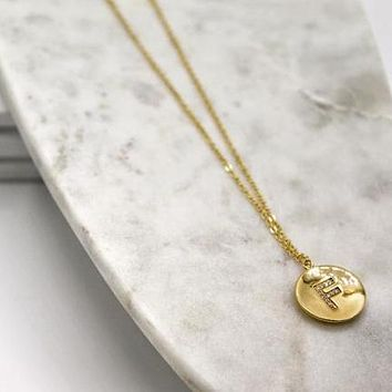 CZ Disc Initial Necklace