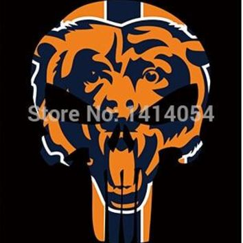 Chicago Bears skull Vertical flags NFL 3X5FT Banner 100D Polyester grommets custom .free shipping