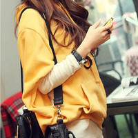 Yellow and White Long Sleeves T-Shirt with Batwing Sleeve Hoodie