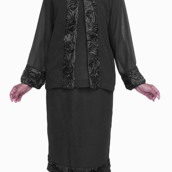 Black Plus Size 3 PC Set Semi Formal Dress Tea Length Jacket Top