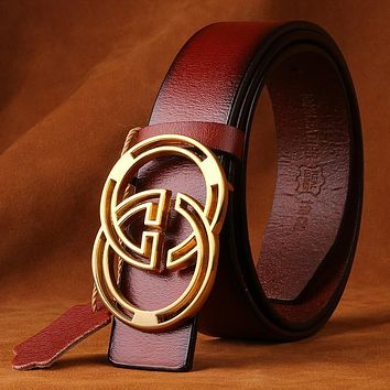 """Gucci"" Unisex Fashion Personality Classic Multicolor Double GG Letter Needle Buckle Belt"