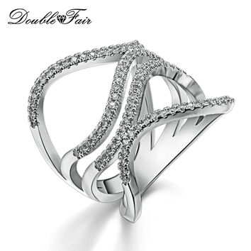White Gold Plated Pave Setting Rings Twisted Silver Tone Metal Fashion CZ Diamond Jewelry Rings setting For Women DFR591