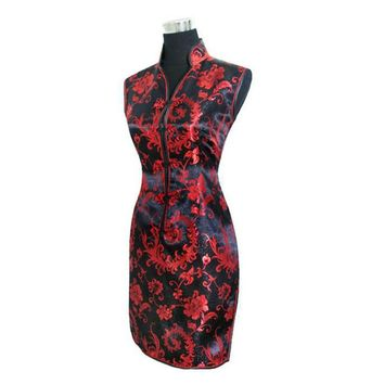 Black Traditional Silk Short Cheongsam One-piece Chinese Qipao Dress