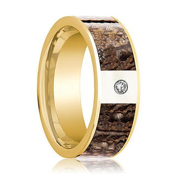 UTAHRAPTOR Men's 14k Yellow Gold and Diamond Wedding Ring with Brown Dinosaur Inlay - 8MM