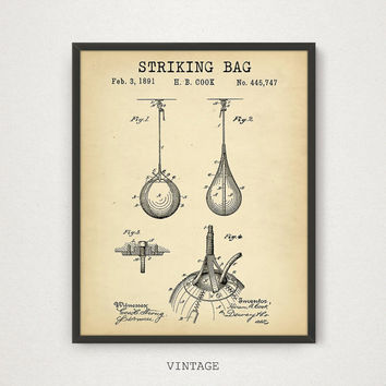 Striking Bag Patent Printable, 4 COLORS, Boxing Poster Print, Boxer Fan Gift, Punching Bag Art Boxing Wall Art Patent Print Digital Download