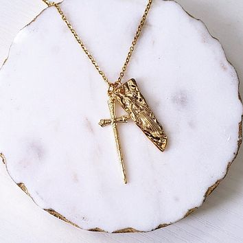 Virgin Mary & Cross Vintage Necklace