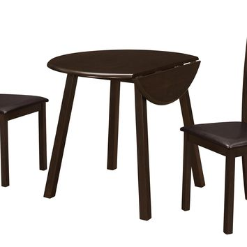 "Dining Set - 3Pcs Set / Cappuccino 36""Dia Drop Leaf Table"