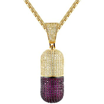 Men's Iced Out Detachable Capsules Stash Pendant Chain