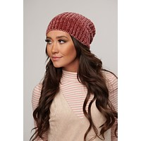 Lizzy Chenille Knitted Beanie (Raspberry)