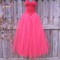 EVERYBODY'S SWEETHEART Blazing Valentine Red Cupcake Dress Velvet and Tulle Frothy Dream Hand Sewn 1950s Princess Party Holiday Wedding