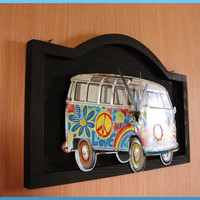 3-D VW Bus Wall Clock - Repurposed Metal Sign - Volkswagen 1960's Decor Psychedelic Hippie
