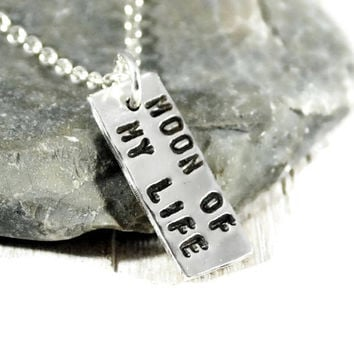 Moon Of My Life. Tiny Sterling Silver Tag Necklace. Personalized Bar Tag Necklace. Tiny Hammered Silver Tag Necklace. GSminimal Jewelry