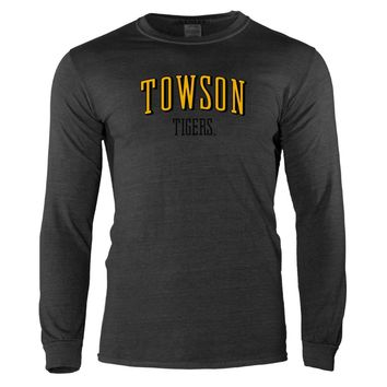 Official NCAA Towson Tigers - RYLTOW07 Mens/ Womens Vintage Washed Crew Neck Long Sleeve Tee