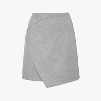 Cross Over Mini Wool Skirt in Gray
