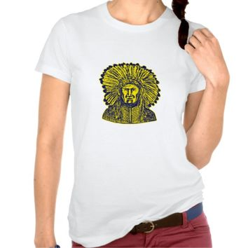 Native American Indian Chief Warrior Etching T Shirts