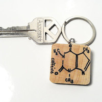 Caffeine Coffee Molecule Keychain Wooden Key Chain Wood Charm Accessory Unisex Women Her His Men Man Dude Guy Dad Fathers Day Gift Birthday