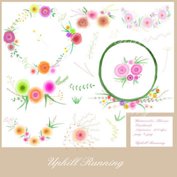 Watercolor Flower Clip Art,  Foral Wreaths, Garlands and Laurels, Set for creating cards invitations, wedding themes, scrapbooking