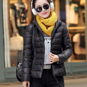 Women Winter Fashion Plus Size Long Sleeve Padded Down Coat with Hat [9378736452]