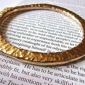 NAPIER Gold Plate Hammered Bangle Bracelet, Abstract Modernist, Vintage