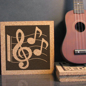 Music Notes Cork Trivet - Kitchen Decor - Dorm Room Decor - Bathroom Decor