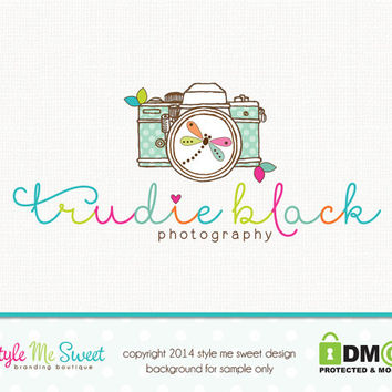 Premade Camera Logo Dragonfly Logo Photography Logo Hand Drawn Small Business Branding Logo