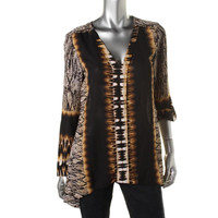 NY Collection Womens Printed Asymmetric Blouse