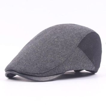 Mens Wool Felt Solid Beret Caps Casual PU Brim Warm Visor Gastby Hats Adjustable