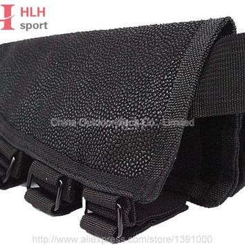 Tactical Military Rifle Stock Ammo Pouch Holder  Cheek Leather Pad Hunting Bag for Airsoft Hunting Accessory