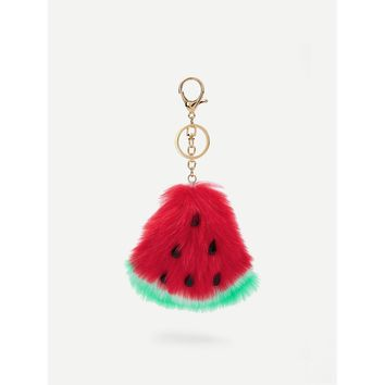 Faux Fur Watermelon Keychain