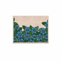 "Art Love Passion ""Blue Flower Field"" Beige Blue KESS Naturals Canvas (Frame not Included)"