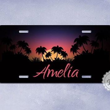 """Car tag  """" tropical sunset """" personalized License Plate with custom name or monogram"""
