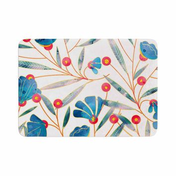 "83 Oranges ""Bluebella"" Blue White Nature Floral Illustration Watercolor Memory Foam Bath Mat"