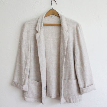 Vintage 60s Tan Ivory Natural Nubby Blazer // Women's Soft Open Jacket