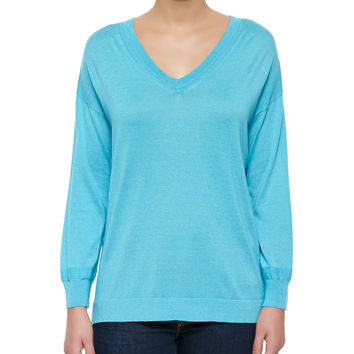 Silk-Cashmere V-Neck Sweater, Size: